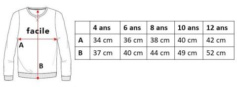 """Guide des tailles sweat enfant Ben """"Facile"""""""
